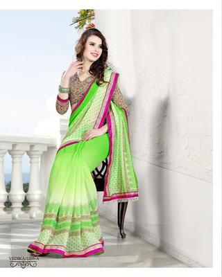 Zoom Fabric gerogette Saree 6907