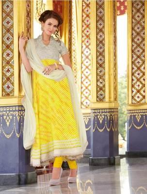 Cotton Jaquard Yellow Anarkali SC3009B