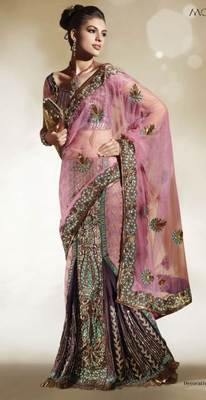 Net Brocade Pink Embroidered Lehenga Saree SC6107