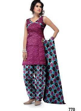 Apparels Designer Printed Cotton Patiala Suits
