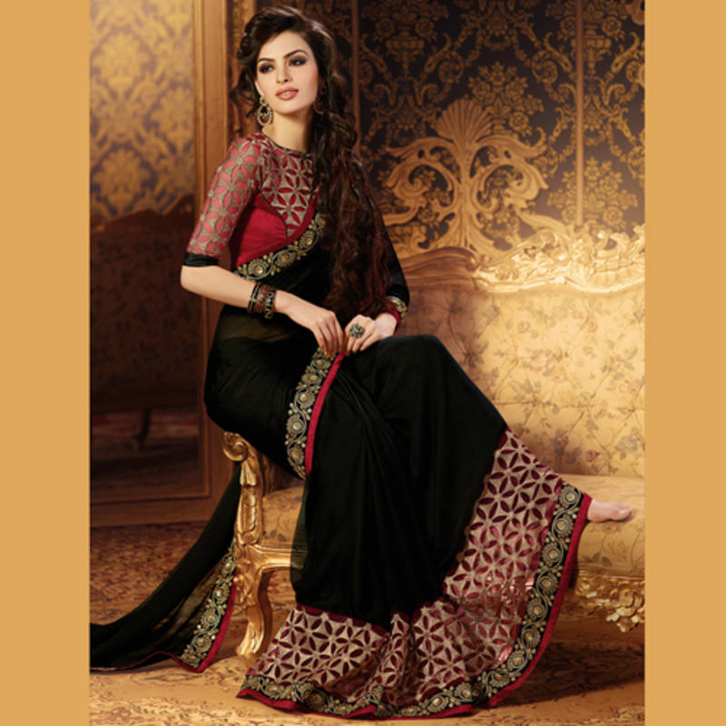 ace3b43599 Black and Maroon Coloured Embroidered Chiffon Party Wear Saree With Blouse  - Satrani Fashion - 1016111