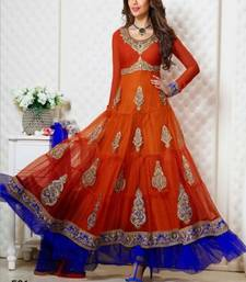 Buy Orange embroidered Georgette semi stitched salwar with dupatta eid-special-salwar-kameez online