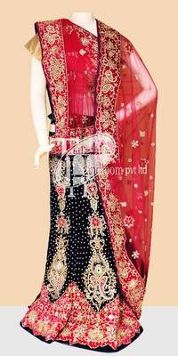 Outstanding blue with pink velvet bridal lehenga