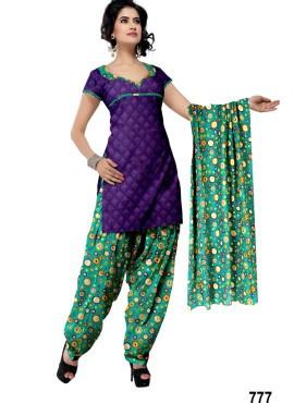 Fashionable Light Purple Printed Patiala Salwar Kameez