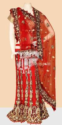 Innovative red net classic work bridal lehenga