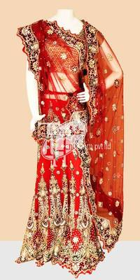 Most famous red heavy design work wedding lehenga