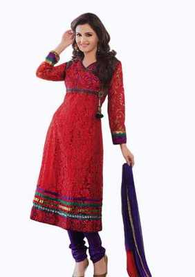 Salwar Studio Red & Voilet Net Brasso unstitched churidar kameez with dupatta Aafreen-28001