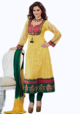 Salwar Studio Yellow & Green Net Brasso unstitched churidar kameez with dupatta Aafreen-28005