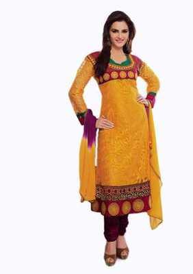 Salwar Studio Mustard & Magenta Net Brasso unstitched churidar kameez with dupatta Aafreen-28008