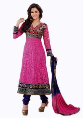 Salwar Studio Pink & Blue Net Brasso unstitched churidar kameez with dupatta Aafreen-28009