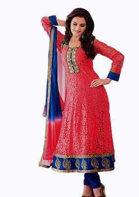 Salwar Studio Red & Blue Net Brasso unstitched churidar kameez with dupatta Aafreen-28011