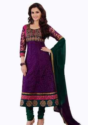 Salwar Studio Magenta & Green Net Brasso unstitched churidar kameez with dupatta Aafreen-28012