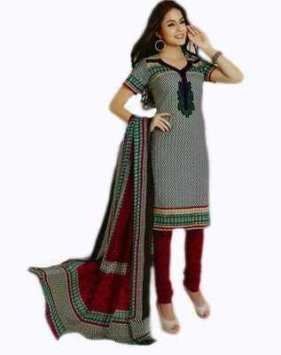 Salwar Studio Red & White Cotton unstitched churidar kameez with dupatta AR-1104