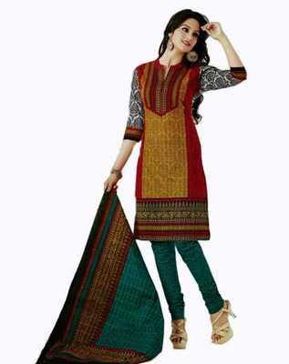 Salwar Studio Red & Mustard Cotton unstitched churidar kameez with dupatta AR-1105