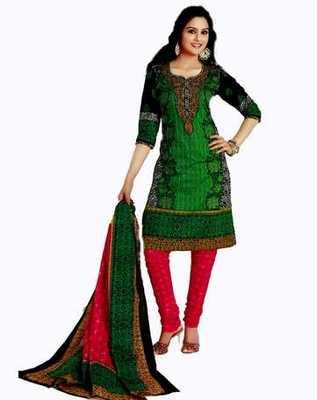 Salwar Studio Green & Pink Cotton unstitched churidar kameez with dupatta AR-1106