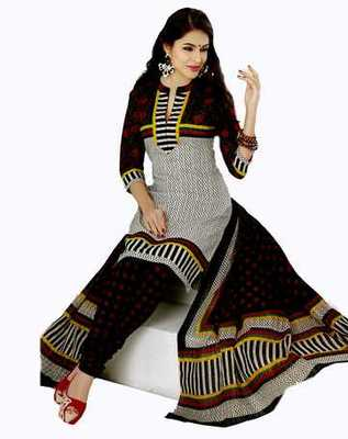 Salwar Studio Black & White Cotton unstitched churidar kameez with dupatta AR-1108