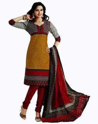 Salwar Studio Mustard & Red Cotton unstitched churidar kameez with dupatta AR-1110