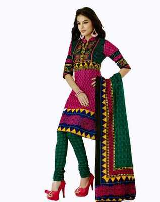 Salwar Studio Pink & Green Cotton unstitched churidar kameez with dupatta AR-1111