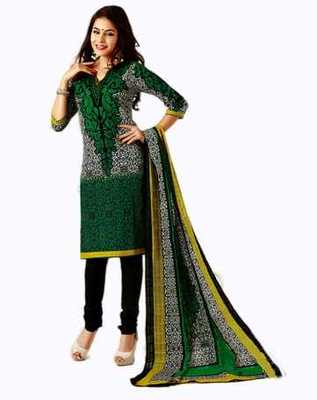 Salwar Studio Green & Black Cotton unstitched churidar kameez with dupatta AR-1116