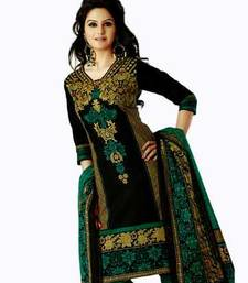 Buy Green & Black Cotton unstitched churidar salwar kameez with dupatta - Salwar Studio AR-1117 dress-material online