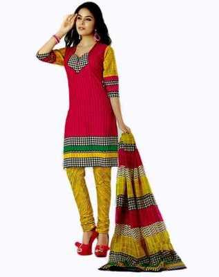 Salwar Studio Pink & Yellow Cotton unstitched churidar kameez with dupatta AR-1118