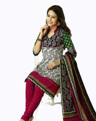 Salwar Studio Pink & White Cotton unstitched churidar kameez with dupatta AR-1121