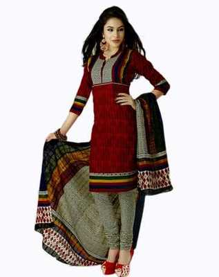Salwar Studio Red & Black Cotton unstitched churidar kameez with dupatta AR-1123