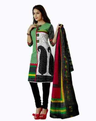 Salwar Studio Black & Green Cotton unstitched churidar kameez with dupatta AR-1125