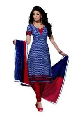 Salwar Studio Blue & Pink Chanderi Cotton unstitched churidar kameez with dupatta Geet-33003