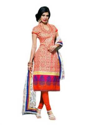 Salwar Studio Orange Chanderi Cotton unstitched churidar kameez with dupatta Geet-33004
