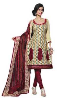 Salwar Studio Fawn & Red Chanderi Cotton unstitched churidar kameez with dupatta Geet-33009