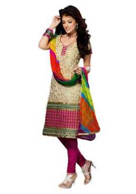 Salwar Studio Fawn & Pink Chanderi Cotton unstitched churidar kameez with dupatta Geet-33010