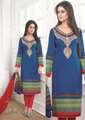 Fascinating Satin Cotton Blue Salwar Kameez