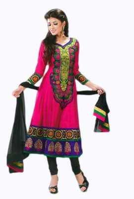 Salwar Studio Pink & Black Pure Chanderi unstitched churidar kameez with dupatta Gulnaar-24002