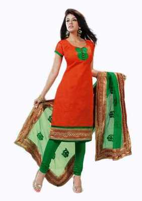 Salwar Studio Orange & Green Banarasi Jacquard unstitched churidar kameez with dupatta Innaya-26002
