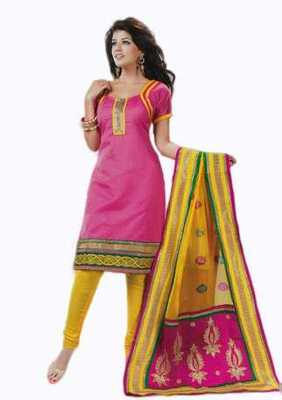 Salwar Studio Pink & Yellow Banarasi Jacquard unstitched churidar kameez with dupatta Innaya-26006