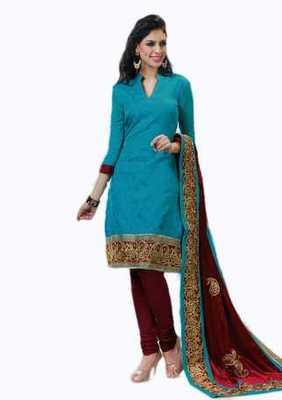 Salwar Studio Sky Blue & Maroon Banarasi Jacquard unstitched churidar kameez with dupatta Innaya-26009