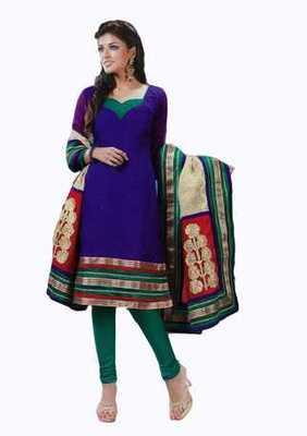 Salwar Studio Blue & Green Banarasi Jacquard unstitched churidar kameez with dupatta Innaya-26010