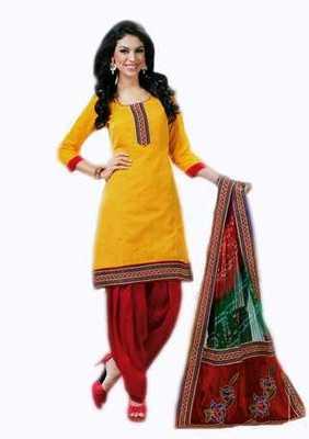 Salwar Studio Yellow & Red Banarasi Jacquard unstitched churidar kameez with dupatta Innaya-26012
