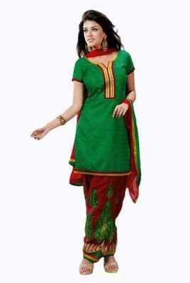 Salwar Studio Green & Red Cotton Chikan unstitched churidar kameez with dupatta Mishree-23005