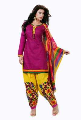 Salwar Studio Pink & Yellow Cotton Chikan unstitched churidar kameez with dupatta Mishree-23006
