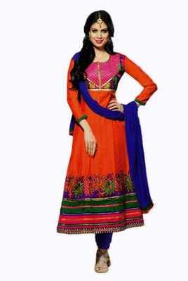 Salwar Studio Orange & Blue Chanderi unstitched churidar kameez with dupatta Mokksh-30006