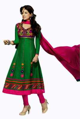 Salwar Studio Green & Pink Chanderi unstitched churidar kameez with dupatta Mokksh-30007
