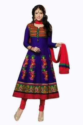 Salwar Studio Blue & Red Chanderi unstitched churidar kameez with dupatta Mokksh-30009
