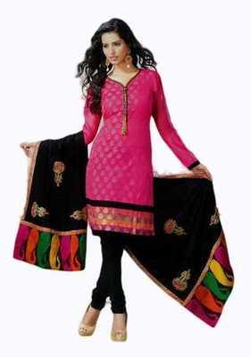 Salwar Studio Pink & Black Banarasi Jacquard unstitched churidar kameez with dupatta Mrugnaynee-22003