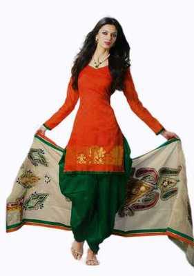 Salwar Studio Orange & Green Banarasi Jacquard unstitched churidar kameez with dupatta Mrugnaynee-22004
