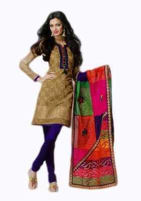 Salwar Studio Fawn & Blue Banarasi Jacquard unstitched churidar kameez with dupatta Mrugnaynee-22007