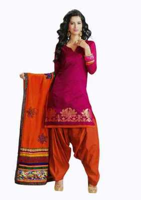 Salwar Studio Pink & Orange Banarasi Jacquard unstitched churidar kameez with dupatta Mrugnaynee-22008