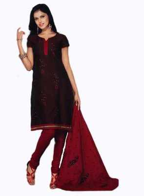 Salwar Studio Brown & Red Chanderi unstitched churidar kameez with dupatta Nirvana-29003