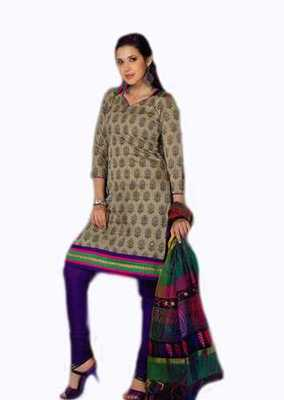 Salwar Studio Grey & Blue Chanderi unstitched churidar kameez with dupatta Nirvana-29004